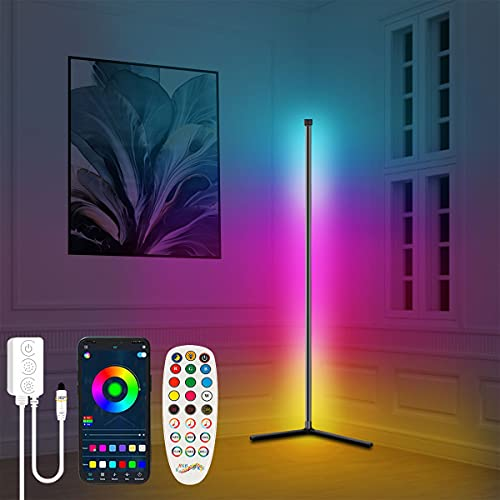 Lashahope Led Floor Lamp,RGB Color Changing Mood Lighting Corner Lamp with Bluetooth App and Remote Control, Music Sync/Timing/ Dimmable/Multi Lighting Modes Led Lamp for Living Room,Home Decoration