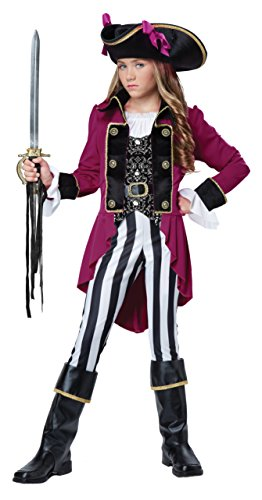 California Costumes Fashion Pirate Costume, Black/White/Berry, X-Large