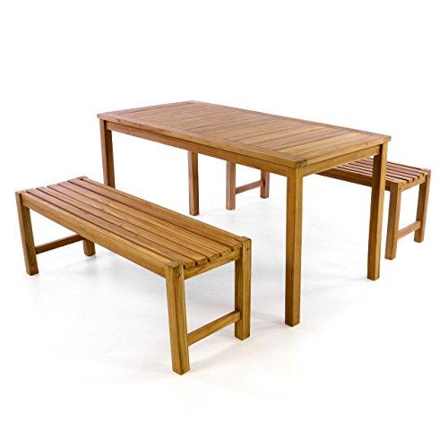 Divero Garten- & Picknick-Set Sitzgruppe Gartenmöbel-Garnitur 3-teilig 1 Tisch 2 Bänke behandelte unbehandelte Oberfläche Teak-Holz massiv 150 135 cm wählbar (150 cm, braun)