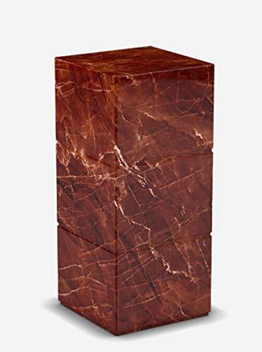 Casa Padrino Mesa Auxiliar de Lujo de mármol Travertino Rojo 30 x 30 x A. 70 cm - Muebles de Sala - Muebles de mármol - Colección de Lujo