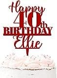 Happy 40th Birthday - Decoración para tartas (acrílico, para 40 cumpleaños, 20 unidades), color rojo oscuro