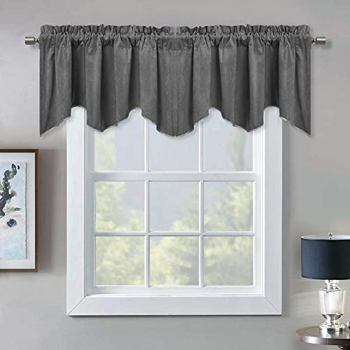 Blackout Scalloped Velvet Curtains Valance - Elegant Home Decor Rod Pocket Top Tier Curtains Thermal Insulated Energy Efficient Drapes for Kitchen / Basement, Grey, W52 x L18-inch, 1 Panel