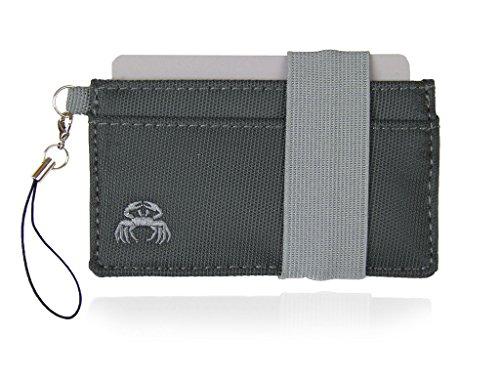 Crabby Wallet P3, Kleiner dünner praktischer Geldbeutel, Geldbörse, Portemonnaie, Brieftasche, Slim Wallet, Polyester 10,5 x 5,5 x 0,5 cm (Mona grau)