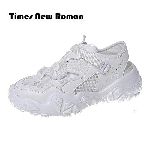 Times New Roman Damen Sommerschuhe 2020 Atmungsaktive Bunte Chunky Sneakers für Damen Stone Sole Fashion Casual Sneakers, weiß, 40
