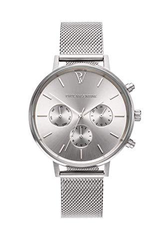 Paul Valentine Damenuhr - Multifunctional Silver Melrose Mesh - 38 mm Armbanduhr Silber, kratzfestes Glas mit Metallic-Ziffernblatt & Milanaise-Band