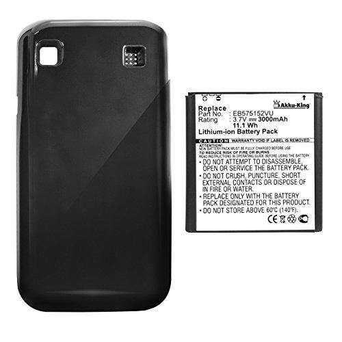 Akku-King Power-Akku kompatibel mit Samsung EB575152VU, EB575152LU - mit Akkudeckel schwarz - Li-Ion 3000mAh - für Galaxy S GT-i9000, S Plus i9001