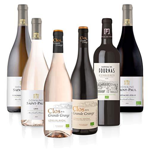 FEINSTE WEINE Weinpaket 'Süd-Frankreich BIO' (6 x 0,75 l) - Probierpaket mit trockenen Weißwein, Roséwein und Rotwein von französischen Winzern, Auswahl:6 Flaschen
