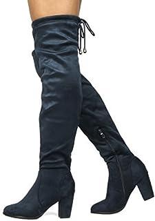 e90a3f37b593 DREAM PAIRS Women s Thigh High Fashion Over The Knee Block Heel Boots