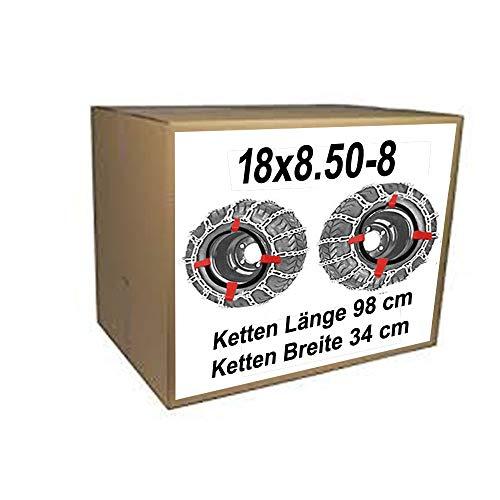 18x8.50-8 Schneeketten + Spanner für Rasentraktor Aufsitzmäher 18 x 8.50-8