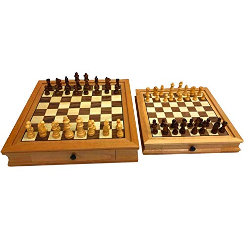Juego de ajedrez de madera Juego internacional de ajedrez y damas Juego de ajedrez y damas de lujo Juego de mesa de ajedrez Juego de mesa de regalo para niños adultos