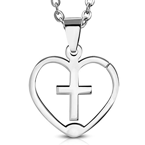 Bungsa® Kreuz in Herz Pendant Edelstahl silber (Latin Cross Religion Jesus Christus Kettenanhänger Amulett Medaillon Charm Beads Chirurgenstahl Damen Herren Schmuck)