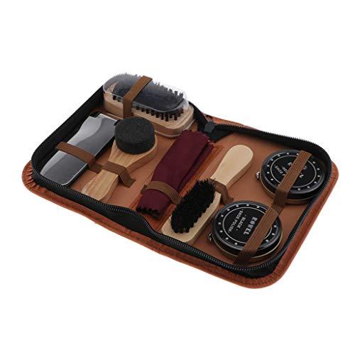 Sharplace 7pcs Schuhpflegeset inkl. Lederpflegecremes und Schuhbürsten Set, Schuhputzset für die professionelle Schuhpflege