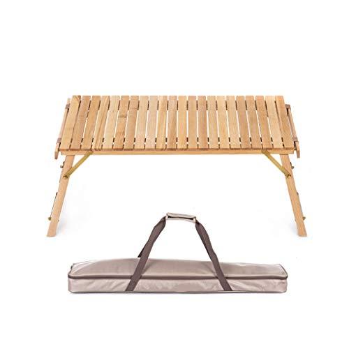 ZQQ Klappbarer Camping-Tisch, Tragbarer Roll-Up-Garten-Esstisch Massivholz-Picknick-Schreibtisch Perfekt Für Das Kochen Im Freien Wandern BBQ