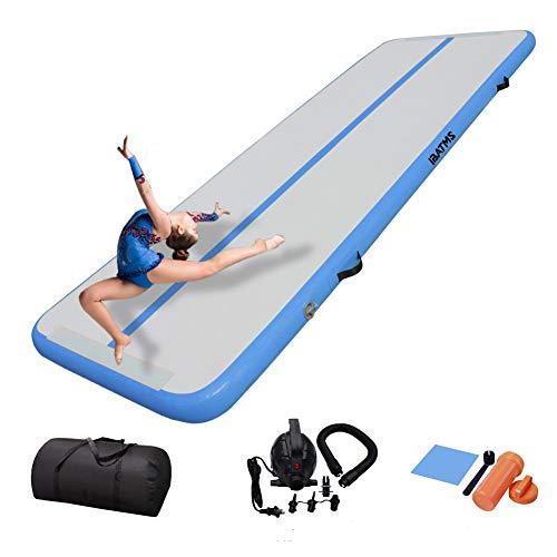 IBATMS Turnmatte Aufblasbar Track Tumbling Matte Gymnastikmatte 3/4/5/6m |mit Tragetasche & elektr. Luftpumpe | Yogamatte, Tumbling Matten, Trainingsmatte Sportmatte (3m, blue)