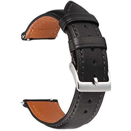 EACHE Correas de Reloj de Cuero Negro de 18 mm para Hombres y Mujeres Correas de Reloj de Cuero de Grano Completo de liberación rápida