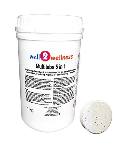 well2wellness Chlor Multitabs 5 in 1 200g mit 96% Aktivchlor - 1,0 kg