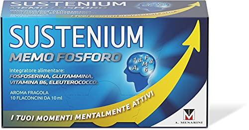Sustenium Memo Fosforo - Integratore alimentare per aiutare la memoria e la concentrazione con Vitamina B6, L-glutammina, DL-fosfoserina ed Eleuterococco. Confezione da 10 flaconcini 10ml.