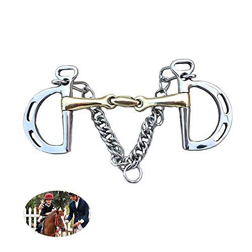 AMAIRS Paard Bits, RVS D-vormige Paard Boor Silicium Messing Paard Mond Paardensport Uitrusting met Verrekijker Ketting en Haak