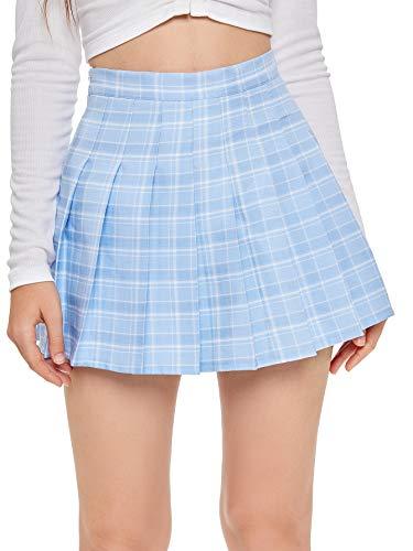 SweatyRocks Women's Casual High Waist Plaid A Line Pleated Skirt 2-Blue X-Small