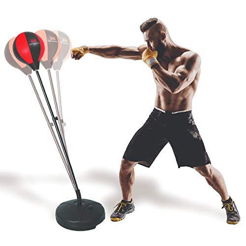 Red Knuckle Punching Bag with Stand – Includes Boxing Gloves, Elastic Wrist Wraps and Jump Rope Designed for a Complete Cardio Training – an Intense Workout for Men, Women and Kids
