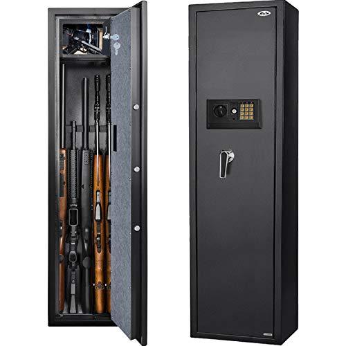 Moutec Large Electronic Rifle Safe, Quick Access 5-Gun Large Metal Rifle Gun Shotgun Security Cabinet (with/Without Scope) with Pistol/Handgun Lock Box