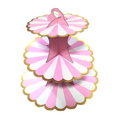 BRTOPMY 3 Tier Cupcake Stand with Candyland Lollipop Cupcake Stand Tower Stand for Weddings Baby Showers Birthday Parties Thanksgiving Cupcake Party Decorations Pink