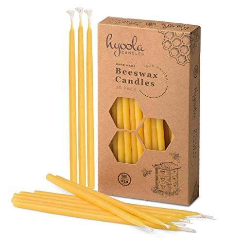 """Hyoola Beeswax Birthday Candles – 50 Pack - Natural Dripless Decorative Candles with Long Lasting Burn – Elegant Taper Design, Soothing Scent – 6"""" Tall – Handmade in The USA"""