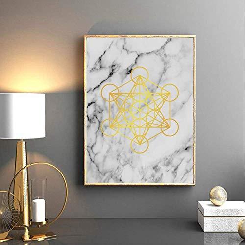 wangjingxi Gold Metatron Cube Marmor Wandkunst Leinwand Malerei Goldene Heilige Geometrie Print Frucht des Lebens Kunst Poster Home Wandkunst Dekor 40X50 cm