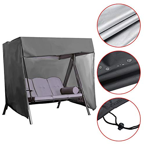 seawe Patio Swing Cover, Outdoor Garden Hamac Swing Chair Dust Cover Waterproof Sunshade Glider Canopy Seat Cover Replacement Cover Patio Furniture Cover Canopy Shield Porch Swing Swing Cover