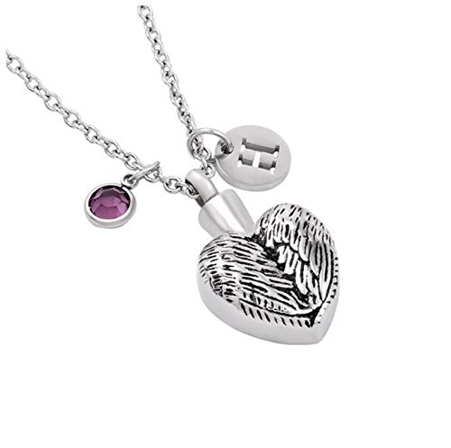 Wxcvz Cremation Necklacemultiple Design Urn Necklace With Birthstone And 26 Letter Stainless Steel Diy Charm Cremation Pendant With Link Chain