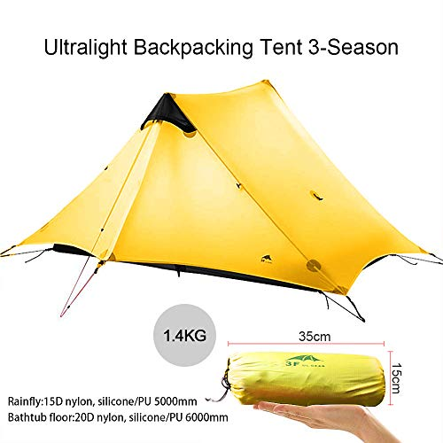 KIKILIVE Ultralight Tent 3 Season Camping Tent for 2-3 Person Outdoor Camping,Waterproof Backpacking Pyramid Tent,Quick Setup Teepee Tent,Kayaking,Climbing,Hiking