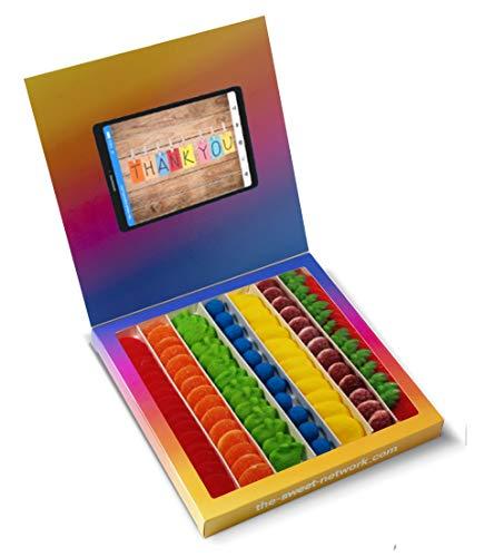 Caja golosinas Instagram 23x23cm con mensaje THANK YOU, su interior contiene 750g de golosinas Rainbow