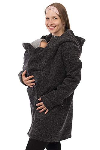 Viva la Mama - Umstandsjacke Winter Jacke mit Babytrageeinsatz warm Kängurujacke Babytragen - Valentin - anthrazit - M