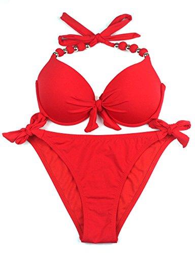 EONAR Damen Seitlich Gebunden Bikini-Sets Abnehmbar Bademode Push-up-Bikinioberteil mit Nackenträger, Rot, (Größe:38)70C/75C/80B