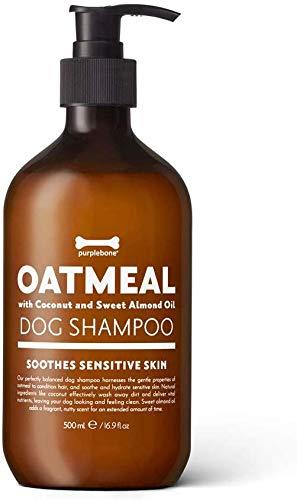 Champú para perros de limpieza con harina de avena púrpura y coco para reducir la irritación y calmar la piel sensible - 500ml / 16.9 fl oz