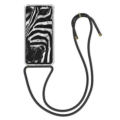kwmobile Hülle kompatibel mit OnePlus 6T - mit Kordel zum Umhängen - Silikon Handy Schutzhülle Transparent Schwarz
