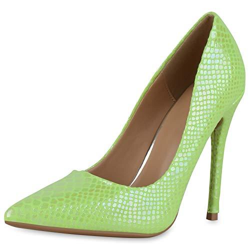 SCARPE VITA Damen Spitze Pumps High Heels Prints Party Schuhe Stiletto Absatzschuhe Modische Abendschuhe 190429 Neon Gelb 41