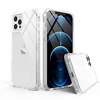 Rantice Case Compatible with iPhone 12/12 Pro 6.1 Inch 2020 Clear Cover with Edge Bumper Shockproof Protection  Clear