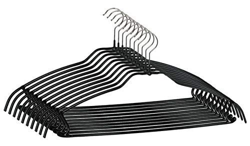 MAWA Kleiderbügel mit Steg, 10 Stück, platzsparende Universalkleiderbügel für Oberteile, Hosen und Röcke, 360° drehbar, hochwertige Antirutsch-Beschichtung, 42 cm, Schwarz