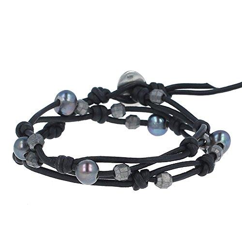 Chan Luu Peacock Blue Pearl Double Strand Bracelet on Black Leather, NWT