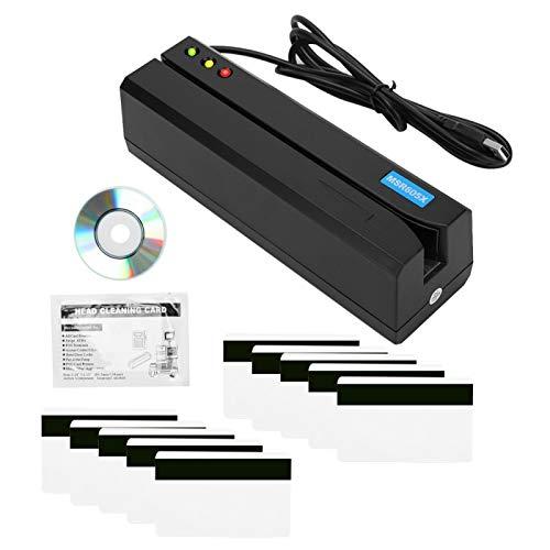 Lector de tarjetas de banda magnética Lector de tarjetas magnéticas mini USB Indicador LED Escritor de banda magnética 3 pistas con 10 tarjetas magnéticas para máquina de tarjetas de crédito MSR605X