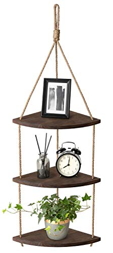 Mkouo Hangend Ecke Regal 3 Tier Jute-Seil Holz Wand Schwimmende Regale Rustic Organizer Displays Storage Rack Home Decor for Living Room Bedroom Bathroom Kitchen, Dark Brown