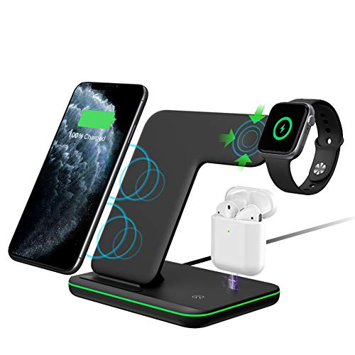Intoval Wireless Charger, 3 in 1 Wireless Charging Stand for Apple Watch Series 5 4 3 2 1/Airpods (Pro),Qi Fast Wireless Charging Station for iPhone 11/11 Pro/11 Pro Max/XS Max/XS XR and Qi Phones.