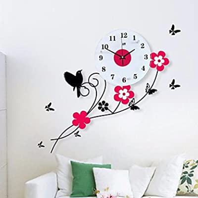 zhENfu Pastoral Birds Flowers Mute Quartz Bedroom Child Watch Large Wall Clock Horloge Murale Reloj de