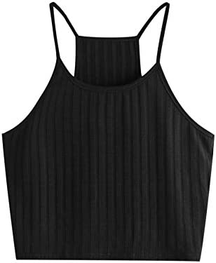 SheIn Women s Summer Basic Sexy Strappy Sleeveless Racerback Crop Top Black Small product image