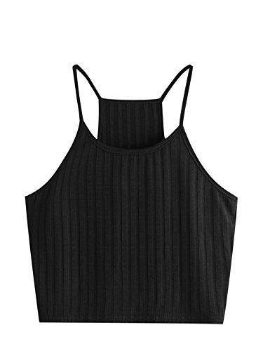 SheIn Women's Summer Basic Sexy Strappy Sleeveless Racerback Crop Top Small Black#1