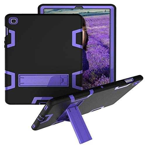 BZN For Samsung Galaxy Tab S5e T720 Shockproof PC + Silicone Protective Case,with Holder (Color : Black Purple)