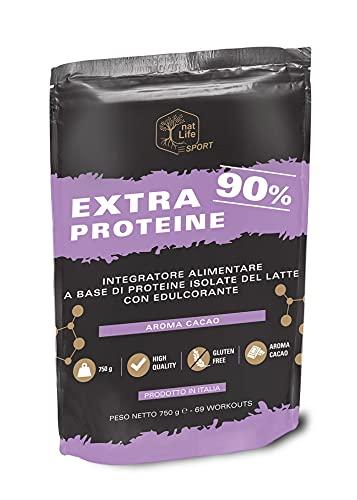 Proteine in Polvere con Proteine Isolate ed Aminoacidi per la Massa Muscolare, Alto Contenuto Proteico, Grassi e Carboidrati Ridotti, Gusto Cacao, Prodotto dell'anno 2021