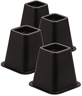 Honey-Can-Do STO-01136 Stackable Square Bed Risers, 4-Pack, Black