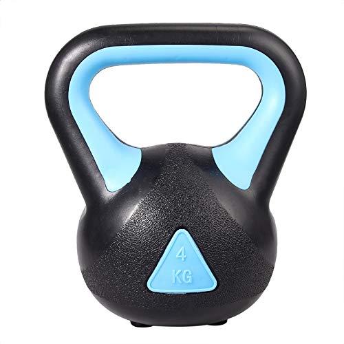 VINTEAM Kettlebell4kg Sollevamento Pesi per Allenamento Forza Avambraccio Kettlebell con Base Antiscivolo per Fitness Esercizi Braccia Spalla Colore Nero e Blu-4kg